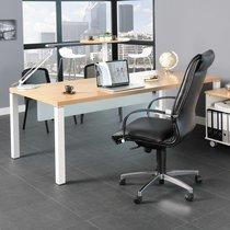 Bureau professionnel 200x100 cm coloris chêne clair et blanc