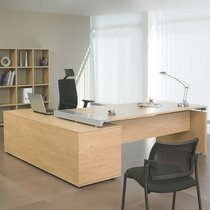 Bureau professionnel angle droit avec console de rangement 200x200 cm coloris ch
