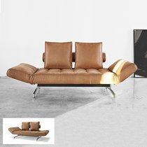 Canapé effet cuir marron clair - Pieds chromés - GHIA