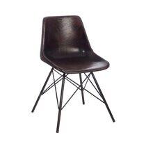 Chaise cuir et pieds métal - coloris marron foncé