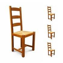 Lot de 4 chaises Hêtre assise paille Teinte chêne doré