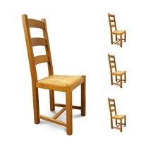 Lot de 4 chaises Chêne assise paille Teinte chêne moyen