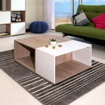 Table basse 89 cm bicolore décor chêne et blanc