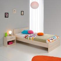 Ensemble lit 90x190cm + chevet coloris acacia et blanc