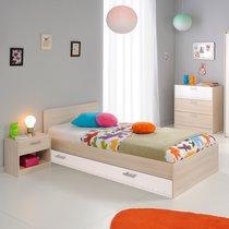 Ensemble lit + tiroir + chevet + commode coloris acacia et blanc