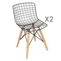 Lot de 2 chaises en métal 42x50x77cm coloris noir mat et chêne