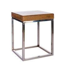Bout de canapé carré 45cm bois-métal coloris naturel et argent