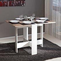 Table pliante deux abattants coloris blanc et chêne