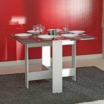 Table pliante deux abattants coloris blanc et béton