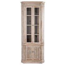 Armoire d'angle 4 portes bois blanchi 61x61x195cm