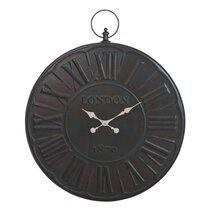 Horloge ronde chiffres romains 80cm London en métal coloris brun