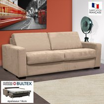Canapé 3 places convertible bultex microfibre coloris perle LOUISA