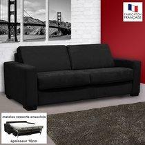 Canapé 3 places convertible 16cm ressorts microfibre  noir LOUISA