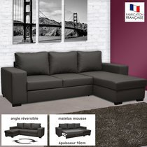 Canapé d'angle réversible convertible en PU coloris noir - STEWART