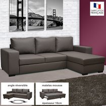 Canapé d'angle réversible convertible en PU coloris gris - STEWART