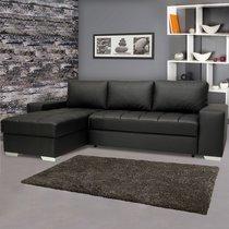 Canapé d'angle réversible convertible en PU coloris noir - ELVIS