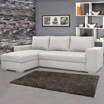 Canapé d'angle réversible convertible en PU coloris blanc - ELVIS