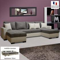 Canapé convertible double méridienne PU-microfibre coloris blanc-gris