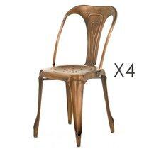 Lot de 4 chaises cuivrées marron - TALY