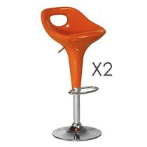 Lot de 2 tabourets de bar orange - PATI