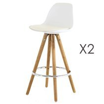 Lot de 2 chaises de bar blanc - SORAY