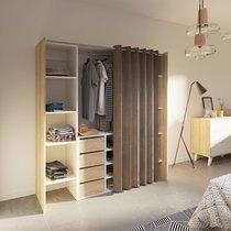 Dressing 2 colonnes + meuble 4 tiroirs chêne/blanc, rideau taupe