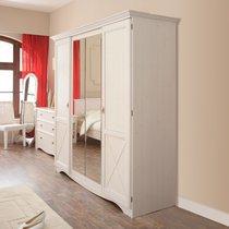 Armoire 4 portes avec miroir 194x66x205cm coloris blanc - FLIRT