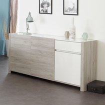Enfilade 3 portes 1 tiroir 180x44x85cm chêne grisé et blanc laqué-ZOLA