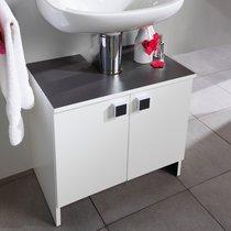 Meuble sous lavabo 2 portes - largeur 59cm coloris blanc et anthracite