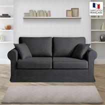 Canapé 2 places fixes - 100% coton - coloris anthracite ADELE