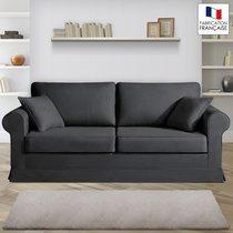 Canapé 3 places fixes - 100% coton - coloris anthracite ADELE