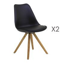 Lot de 2 chaises coins arrondis coloris noir - LUCIE