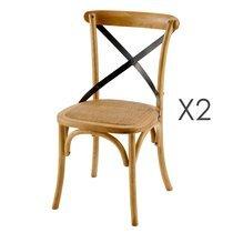 Lot de 2 chaises coloris naturel avec croisillon noir - BISTRONO