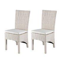 Lot de 2 chaises en kubu pieds teck teinté blanc - SUCCESS