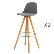 Lot de 2 chaises de bar coloris gris - CIRCOS