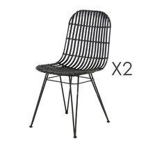 Lot de 2 chaises kubu coloris noir