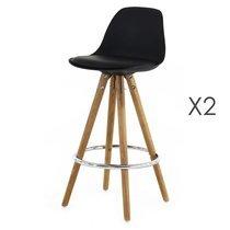 Lot de 2 chaises de bar coloris noir  - LUCIE