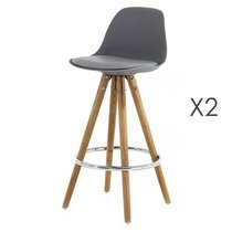 Lot de 2 chaises de bar coloris gris  - LUCIE