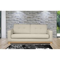 Canapé 3 places fixe pieds bois en tissu crème - PINTU