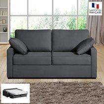 Canapé 2 places convertible 14cm coloris anthracite LOIS
