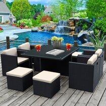 Table et fauteuils de jardin encastrables en résine tressée 8 places KUBO noir