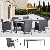 Table et fauteuils de jardin en résine tressée 6 places SICILIA gris