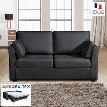 Canapé 2 places convertible matelas Bultex - 100% coton - coloris anthracite CH