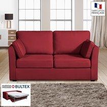 Canapé 2 places convertible matelas Bultex - 100% coton - coloris griotte CHARL