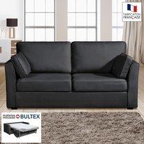Canapé 3 places convertible matelas Bultex - 100% coton - coloris anthracite CH