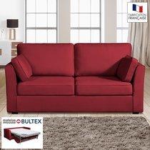 Canapé 3 places convertible matelas Bultex - 100% coton - coloris griotte CHARL