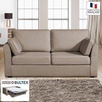 Canapé 3 places convertible matelas Bultex - 100% coton - coloris havane CHARLE