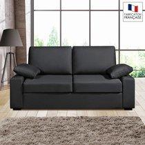 Canapé 2 places fixes - 100% coton - coloris anthracite PLUTON