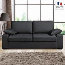 Canapé 3 places fixes - 100% coton - coloris anthracite PLUTON