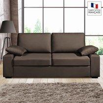 Canapé 3 places fixes - 100% coton - coloris chocolat PLUTON